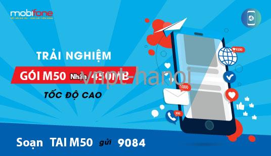 Cách đăng ký gói cước M50 Mobifone miễn phí 450MB chuẩn
